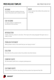 Press Release template for Agile Project Kick-off.