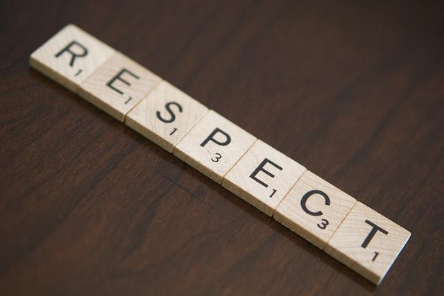 Scrabble tiles spell respect. Respect helps build trust. Photo credit: www.phlebotomytech.org.