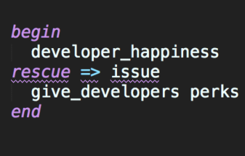 Screenshot of ruby code: Ruby rescue any exception for developer happiness.