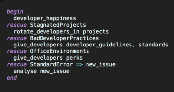 Screenshot of ruby code: Ruby rescue with known error for developer happiness