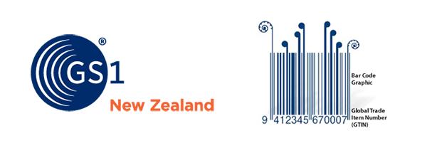 GS1 NZ logo plus an example barcode.