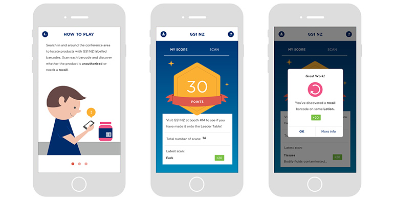 Mock-ups for 3 screens of the GS1 Hunt mobile apps.