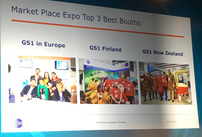Image of big screen at Global Forum showing the top 3 booths at the conference.