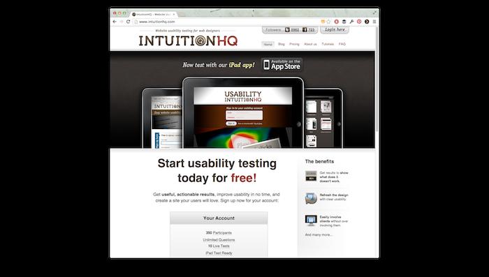 Screenshot of the IntuitionHQ website.