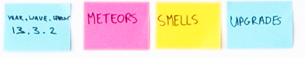 Key to the System Board. Upgrades are blue, meteors pink, smells yellow, and project phases also blue.