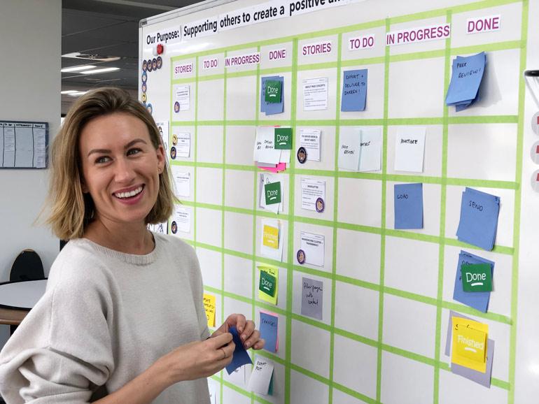 Boost Agile coach Lauren Carey at our internal team Scrum board.