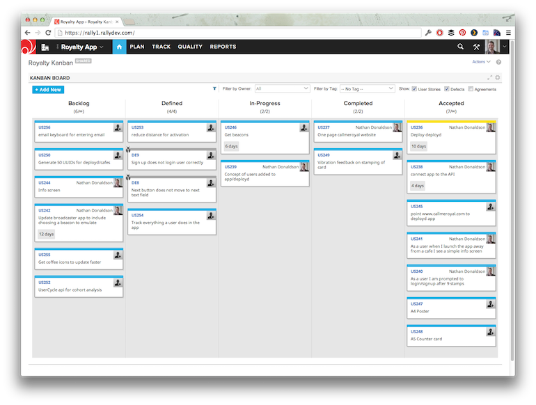 Example of a project's Kanban board with WIP limits at the top of columns.
