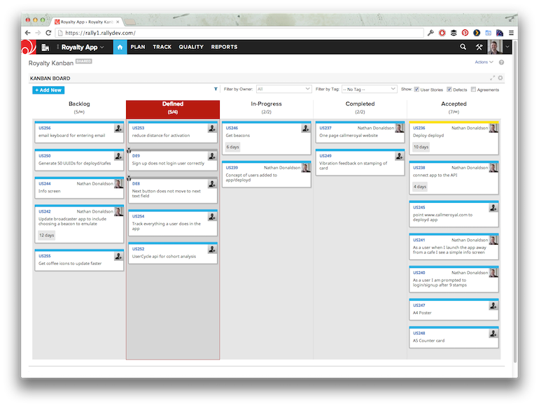 Example of a project's Kanban board with an exceeded soft WIP limit.