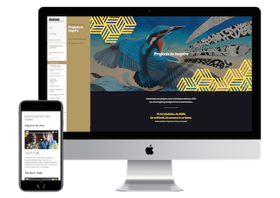 Creative New Zealand's Community Arts Toolkit on a desktop and a mobile phone.