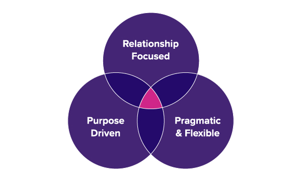 Venn diagram showing that Boost's ideal client is relationship-focused, purpose-driven and pragmatic & flexible.