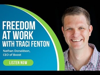 Nathan Donaldson's photo with graphic saying listen now to Freedom at Work with Traci Fenton.
