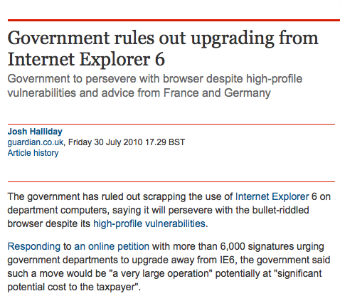 Screenshot of text including hyperlinks in an article on the Guardian website