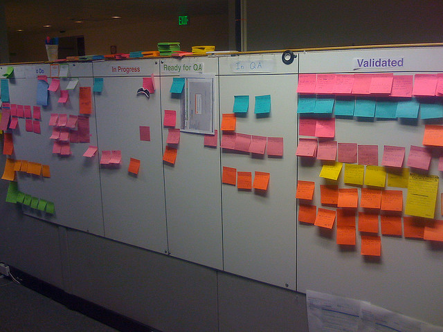 Scrum Board by Drew Stephens on Flickr, released under a Creative Commons BY-SA license