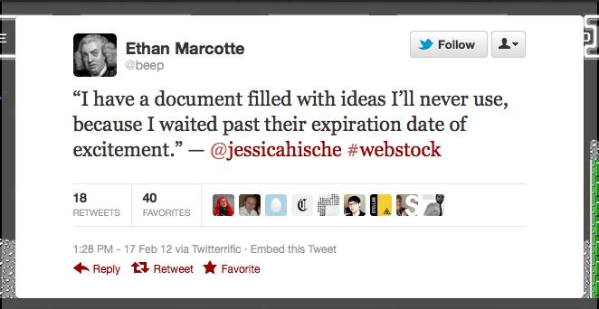 Ethan Marcotte tweet about Jessica Hische