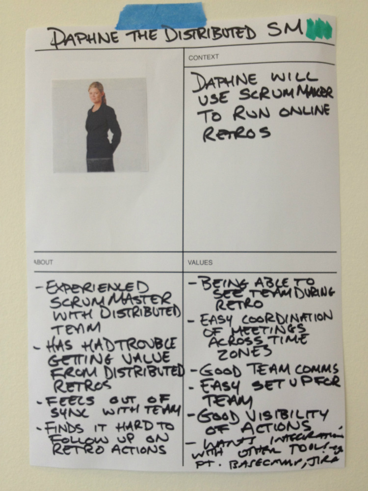 Daphne, our key user persona for Scrummaker