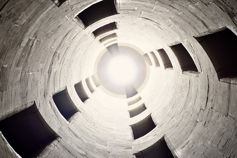 Looking up from inside a silo.