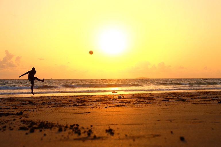 A kick-off for beach football. You start an Agile project kick-off the way you plan to carry on.