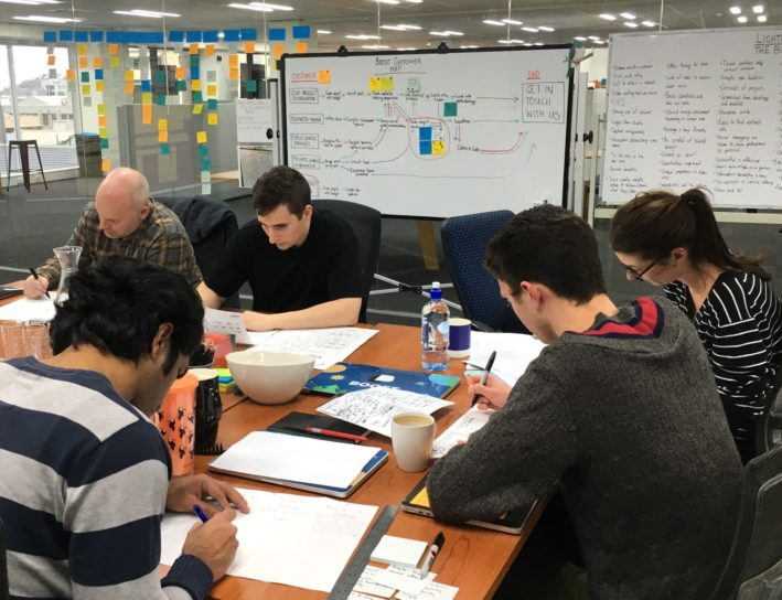 Sketching solutions during the Boost home page design sprint.