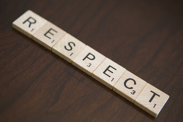 Scrabble tiles spell respect. Respect helps build trust. Photo credit: www.phlebotomytech.org.