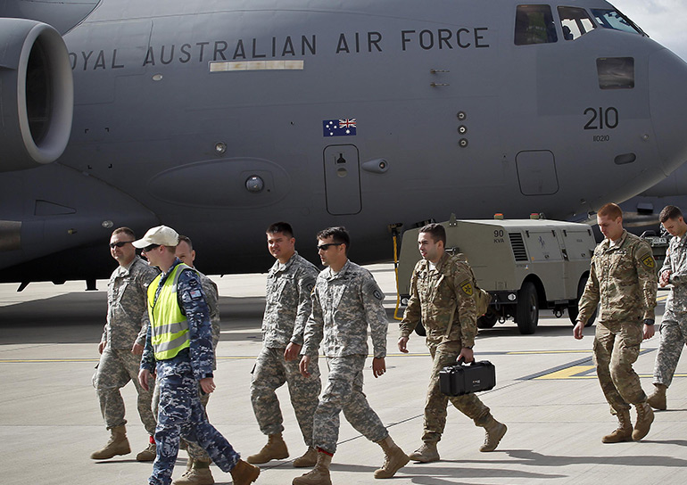 Royal Australian Air Force C-17 Globemaster III with crew and passengers. (Royal Australian Air Force photo by Cpl. Peter Borys/Released).