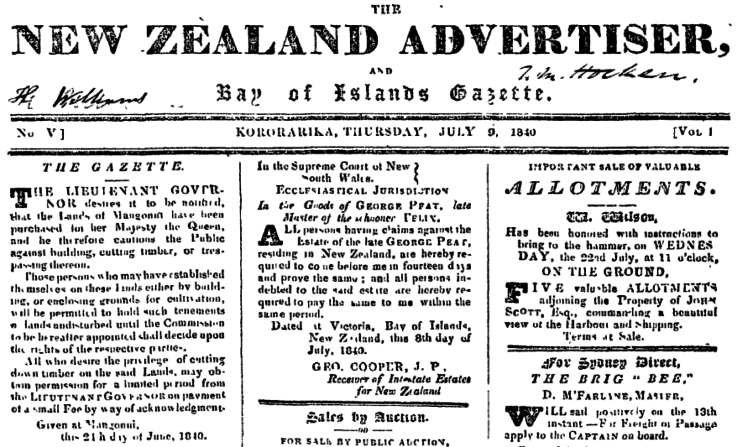 Scan of New Zealand Advertiser and Bay of Islands Gazette for 9 July 1840.
