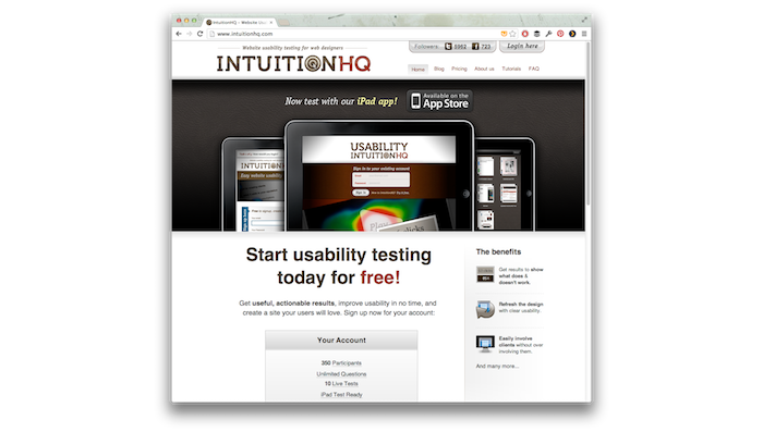 Screenshot of the IntuitionHQ website.