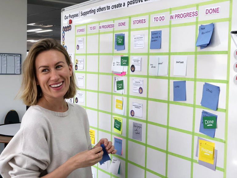 Boost Agile coach Lauren Carey at our internal team Scrum board.