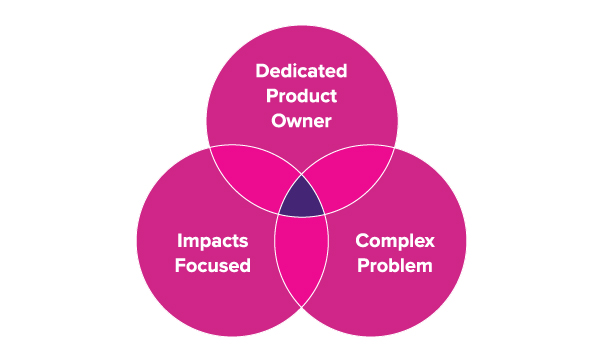 Venn diagram showing that Boost's ideal project has a dedicated Product Owner, is impacts-focused and addresses a complex problem.