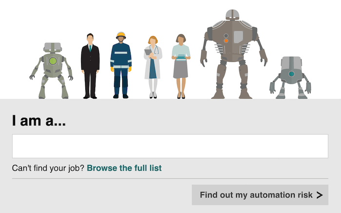 "Click the screenshot from the BBC's ""Will a robot take your job?"" tool to check your own job."