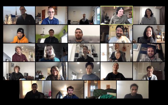 A screenshot of teh whole team catch-up on Zoom.