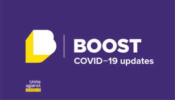 Boost COVID-19 updates banner featuring the Boost logo and a variant of the Unite against COVID-19 logo from https://covid19.govt.nz/ — CC-by-4 https://creativecommons.org/licenses/by/4.0/