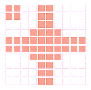 A patterned grid of orange and white squares.