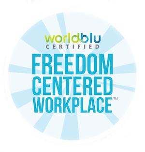 WorldBlu freedom-centred workplace badge
