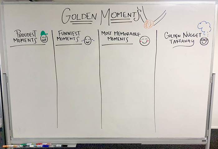 Golden moments retrospective board divided into four columns: Proudest moments, Funniest moments, Most memorable moments and Golden nugget takeaways.