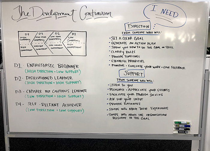 Whiteboard written out to explain the development continuum as detailed in section 2. Introduce the development continuum.